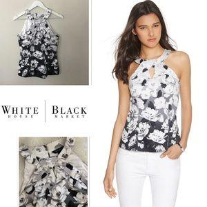 Whitehouse Blackmarket Floral Cotton Halter Bodice